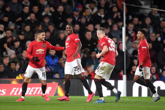 Odion Ighalo (second from left) was the star for Manchester United against Derby.