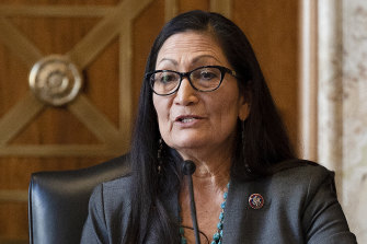 New Mexico congresswoman Deb Haaland speaks during her confirmation hearing on Capitol Hill in Washington.