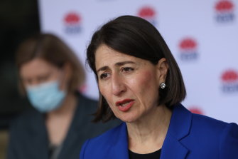 NSW Premier Gladys Berejiklian and  Chief Health Officer Dr Kerry Chant address the Tuesday news conference.