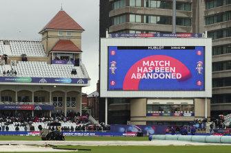 The India-New Zealand match was abandoned at Trent Bridge.
