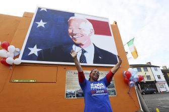 Beryl McCrainey Slevin, originally from California, celebrates Joe Biden in Ballina, Ireland, his ancestral home.