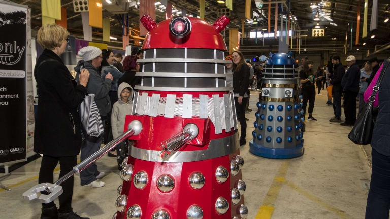 Daleks invade the Science in ACTion event at the Old Bus Depot Markets.