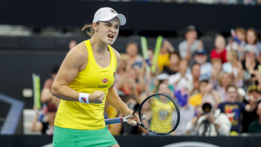 Ash Barty celebrates her second win of the tie.