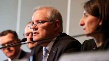 Scott Morrison with state and territory leaders at COAG on Wednesday.