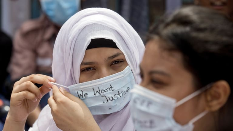 Bangladeshi students participate in a protest in Dhaka, Bangladesh.