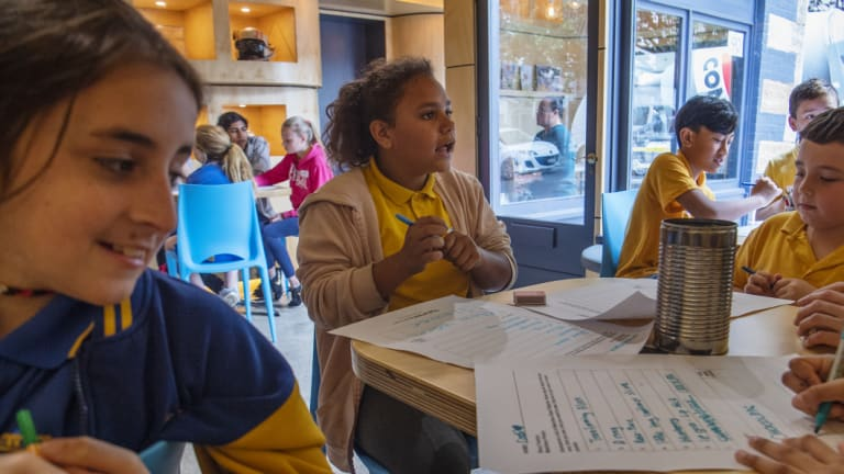 Year 4 students from Willmot Public School working on story ideas at The Story Factory.
