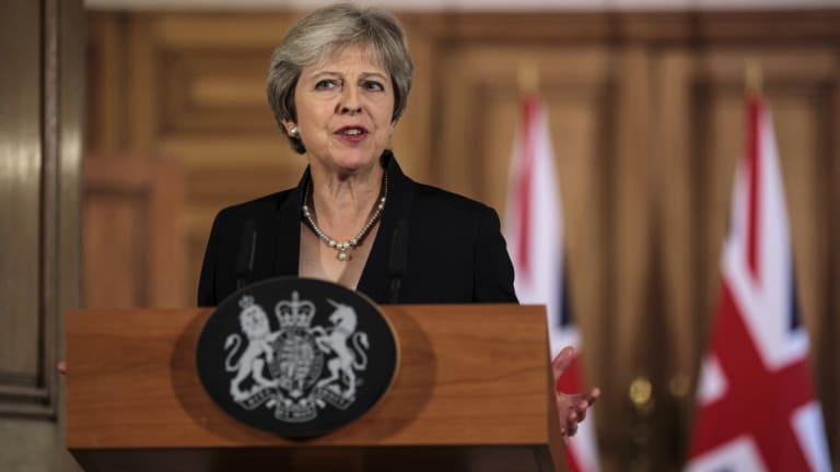 British PM Theresa May makes a statement on Brexit negotiations with the European Union, at 10 Downing Street.