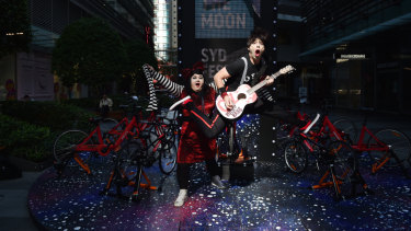 Rock Bang's Otto and Astrid perform at the launch of Sydney Festival.