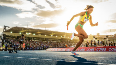 Morgan Mitchell competes at last year's Nitro Athletics at Lakeside Stadium.