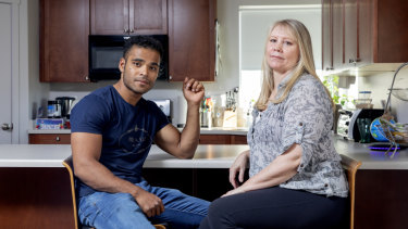 Through Ads-Up, Australian expat Maree de Marco, right, is helping refugees like Mohammad Noor resettle in the US.