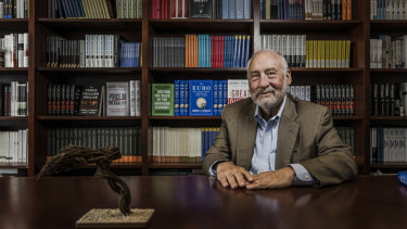 "Joseph Stiglitz in his office at New York's Columbia University. The winner of this year's Sydney Peace Prize, he says of Australia's recent political stoushes: ""Your car crashes are little nicks. America's car crash is potentially fatal."""