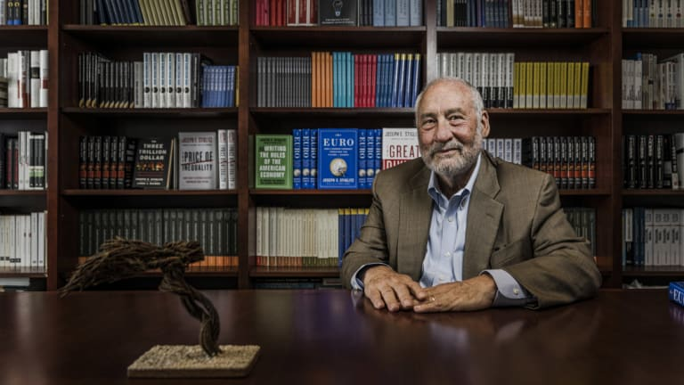 Joseph Stiglitz, the winner of this year's Sydney Peace Prize, in his office at Columbia University.