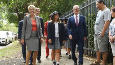 Federal Deputy Opposition Leader Tanya Plibersek joins NSW Opposition Leader Michael Daley on the campaign trail at Strathfield Girls High School on Thursday.