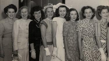 Eight of the first nine Qantas hostesses,  December 1947. Patricia Burke at far left. At far right, senior hostess Marjorie de Tracey.