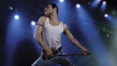 Rami Malek as the rock icon Freddie Mercury.