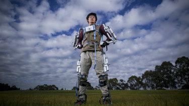 Alan's exoskeleton 'suit of armour'