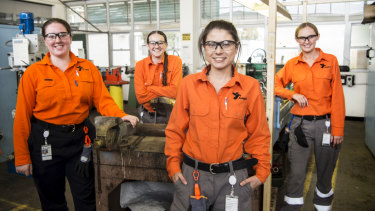 Opportunity: Ausgrid first-year apprentices Carlin Morton, Lauren Walsh, Tahlia Keen and Annika Van Lierop.