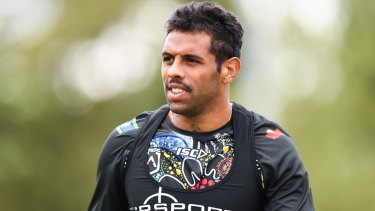 Pride: Josh Addo-Carr training with the Indigenous All-Stars this week.