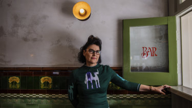 Alana Valentine, pictured at The Terminus Hotel in Pyrmont, says her new play The Sugar House examines our relationship with the past.