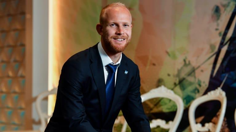 All smiles: Sydney FC defender and new dad Jop van der Linden.