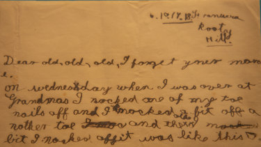 Six-year-old Frank Burrowes sent this letter to his dad at war. The writings  progressively got sillier, reflecting the family's separation.