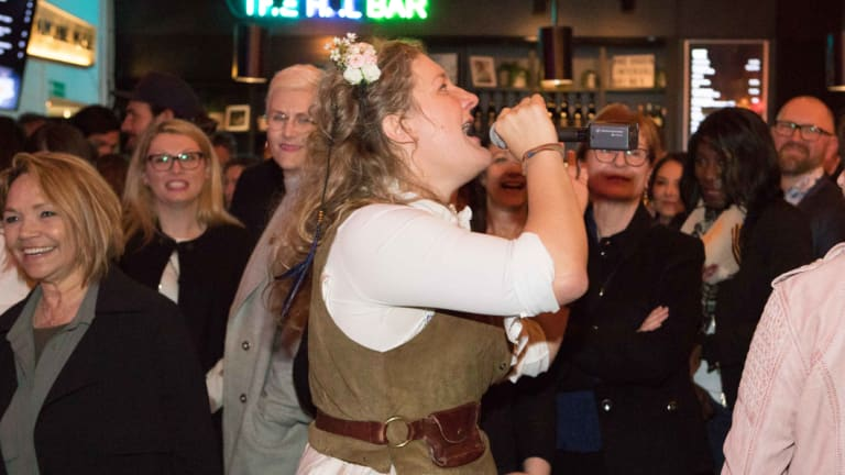 Virginia Gay as Calamity Jane getting amongst the crowd at the Belvoir St Theatre on Saturday.