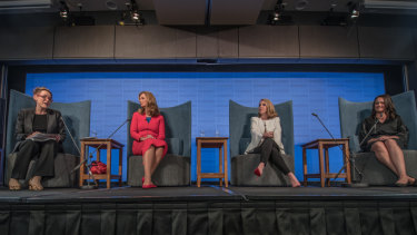 Left to right: President of the National Press Club Sabra Lane, Red Balloon founder Naomi Simson, Business Chicks chief executive Olivia Ruello and CEO of Indigital Mikaela Jade.