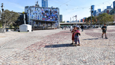 Federation Square was scarcely packed on Monday.