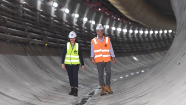 Tunnel vision...NSW Premier Gladys Berejiklian and transport minister Andrew Constance at the Marrickville dive site for the Sydney Metro.