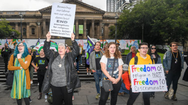 "Protesters at the ""No exemptions from equality"" rally called for an end to discrimination against LGBTI teachers."