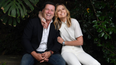 Karl Stefanovic and Allison Langdon, outside the Nine studios at Willoughby on Friday.