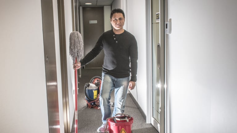 Namgay Namgay won't have work from October after a new contractor took over cleaning services at government buildings.