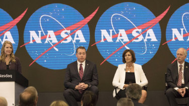 From right, Jeff Dewit, NASA's Chief Financial Officer; Robyn Gatens, NASA's Deputy Director of the International Space Station; Bill Gerstenmaier, NASA's associate administrator for the Human Exploration and Operations Mission, and Stephanie L. Schierholz Public Affairs Officer/Human Exploration and Operations.