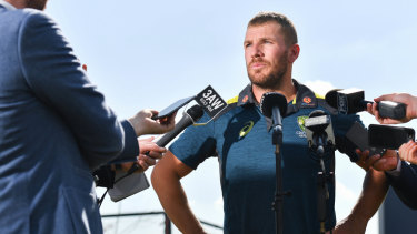 Australian ODI captain Aaron Finch addresses the media after Monday's World Cup squad announcement.