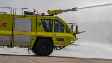 Firefighting training at Sydney Airport.
