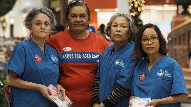 Nurses like Holly Rebeiro, Agaimalo Asalemo, Amy Alegria and Jocelyn Hofman are campaigning for aged care ratios.