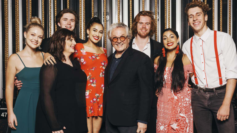 George Miller and NIDA director Kate Cherry after the filmmaker talked to students about his career this week.