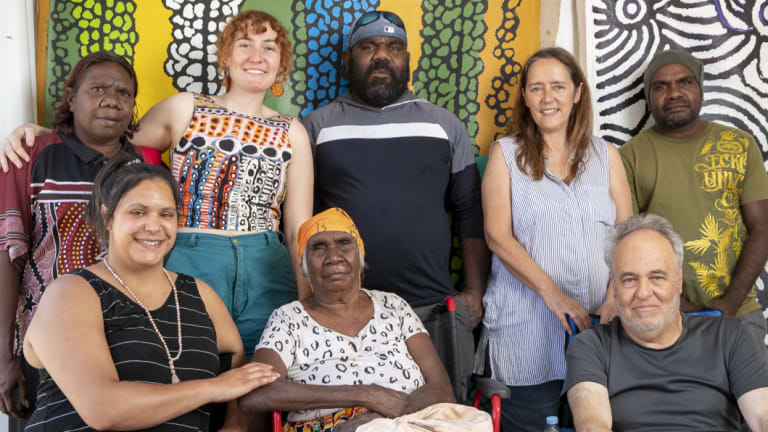 Matrina Nangala Robertson, Joy Johnson, Anna Spencer, Myra Herbert. Ralphie Dixon, Louisa Englis, Geoff Lazarus, and Gerald Watson