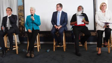 The five main candidates in Saturday's byelection at Monday's debate.  From left Dave Sharma (Liberals) Kerryn Phelps (independent), Tim Murray (Labor), Dominic Wy Kanak (Greens), Licia Heath (independent).