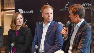 Whistleblower Richard Boyle (centre) is pictured with journalist Adele Ferguson (left) and host Michael Rowland (right) at the panel on Tuesday.