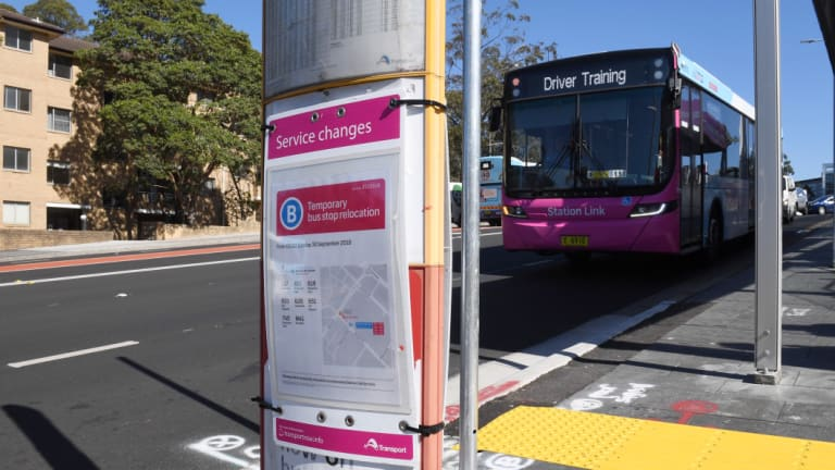 The pink buses will replace trains during the seven-month shutdown.