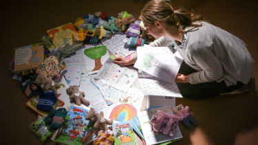 Befriend a Child in Detention volunteer Lucy Crock arranges letters and gifts for children on Nauru.