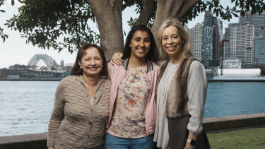 Samar Yousef, 16, a guest speaker at Stand Tall with founders  Jeanine Treharne (right) and Angie Farr-Jones (left).