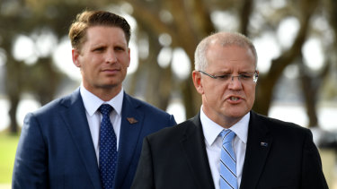 Prime Minister Scott Morrison and Liberal MP Andrew Hastie during the campaign.