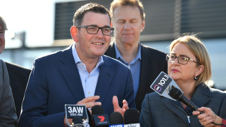 Premier Daniel Andrews announces the rail line on Tuesday morning.
