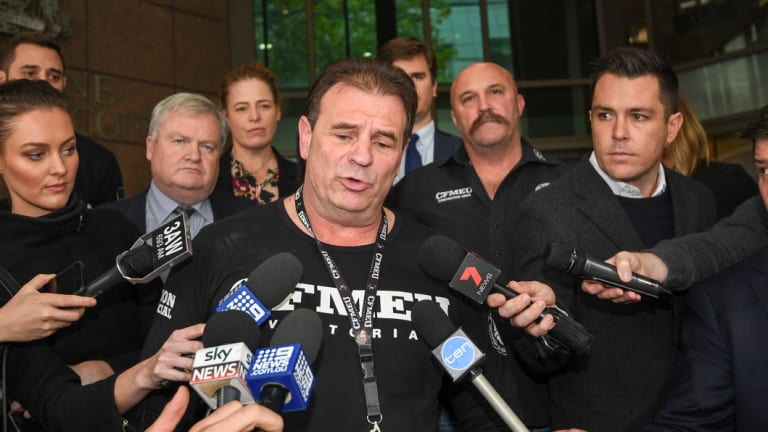 Construction, Forestry, Maritime, Mining and Energy Union Victorian secretary John Setka, and Shaun Reardon (rear) after his blackmail charges were dropped.