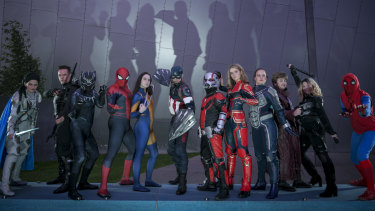 Avengers fans in cosplay outfits at Melbourne's IMAX Cinema.