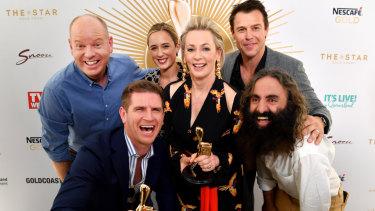 Gold Logie nominees (left to right) Tom Gleeson, Sam Mac, Eve Morey, Amanda Keller, Rodger Corser and Costa Georgiadis