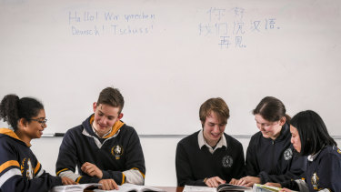 Box Hill High School language students compare notes on Mandarin and German.