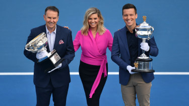 Tony Jones, Rebecca Maddern and James Bracey are the new faces of Channel Nine's tennis commentary team.